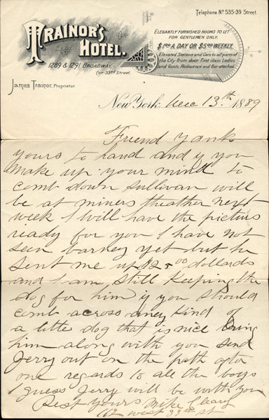 CLEARY, MIKE HAND WRITTEN & SIGNED LETTER (TO YANK SULLIVAN)