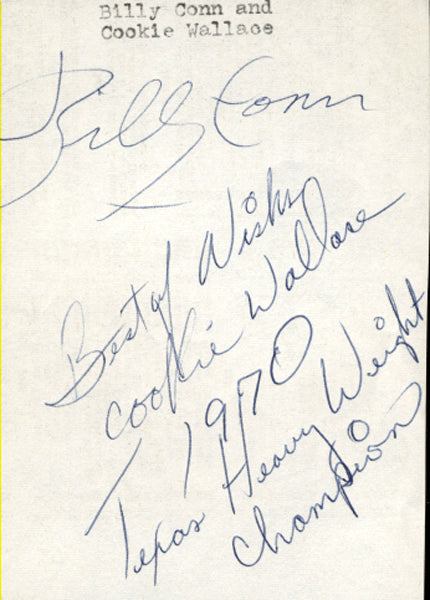 CONN, BILLY & COOKIE WALLACE SIGNED INDEX CARD