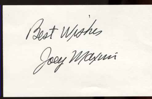 MAXIM, JOEY SIGNED INDEX CARD