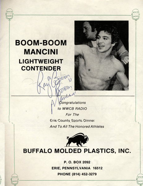 "MANCINI, RAY ""BOOM BOOM"" SIGNED PROMOTIONAL"