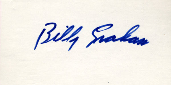 GRAHAM, BILLY SIGNED INDEX CARD
