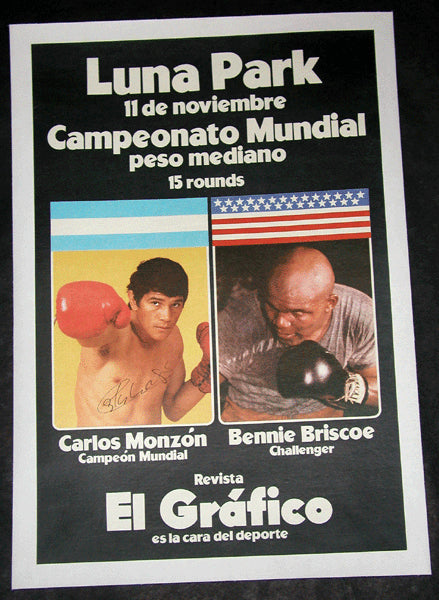 MONZON, CARLOS-BENNIE BRISCOE SIGNED ON SITE POSTER (1972-SIGNED BY MONZON)