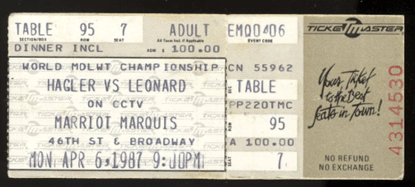 LEONARD, SUGAR RAY-MARVIN HAGLER STUBLESS CLOSED CIRCUIT TICKET (1987)