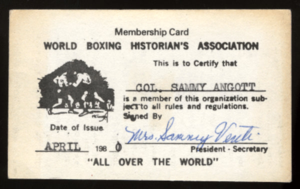 ANGOTT, SAMMY MEMBERSHIP CARD (WORLD BOXING HISTORIANS)