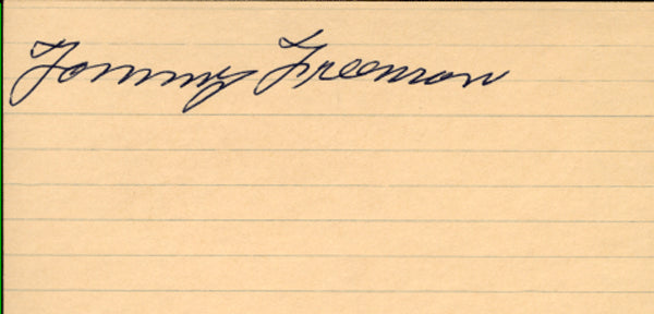 FREEMAN, TOMMY SIGNED INDEX CARD