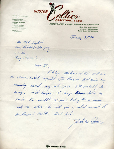 COWENS, DAVE SIGNED LETTER PREDICTING ALI-FRAZIER II FIGHT (1974)