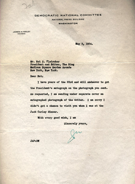Farley,Jim Letter to Nat Fleischer with Photo 1934
