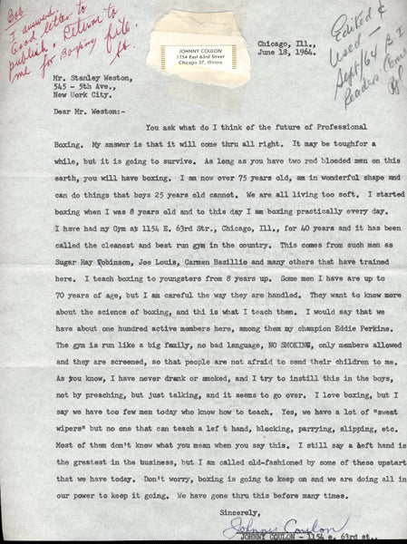 COULON, JOHNNY SIGNED LETTER (TO STANLEY WESTON OF THE RING)