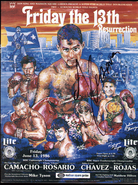 "CAMACHO, HECTOR ""MACHO""-EDWIN ROSARIO & CHAVEZ-ROJAS OFFICIAL PROGRAM (1986)"