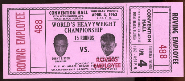 LISTON, SONNY-FLOYD PATTERSON II FULL TICKET (1963-POSTPONED)