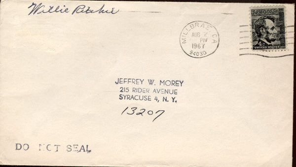 RITCHIE, WILLIE INK SIGNED ENVELOPE
