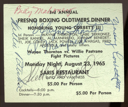 BOXING DINNER SIGNED TICKET (1965-CORBETT III, RITCHIE, OTHERS)