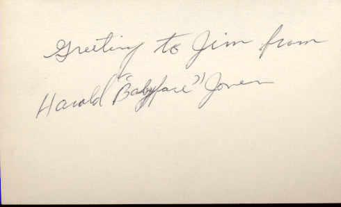 "JONES, HAROLD ""BABY FACE"" SIGNED INDEX CARD"