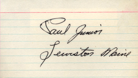 JUNIOR, PAUL SIGNED INDEX CARD