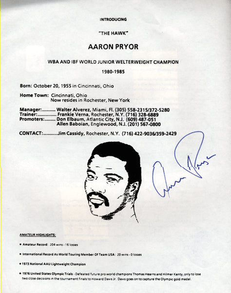PRYOR, AARON SIGNED FACT SHEET (AS CHAMPION)