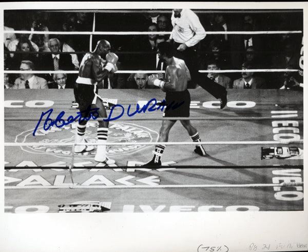DURAN, ROBERTO SIGNED PHOTO (HAGLER FIGHT)