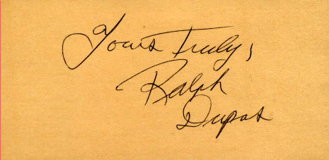 DUPAS, RALPH SIGNED INDEX CARD