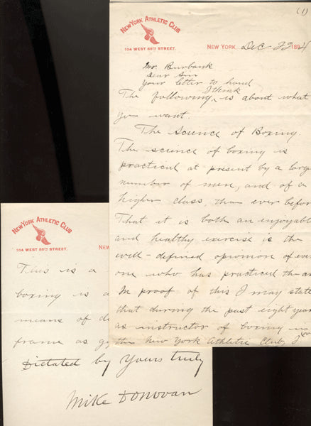 DONOVAN, MIKE HAND WRITTEN & SIGNED LETTER (1894)