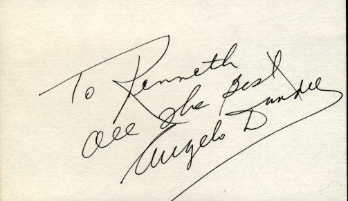 DUNDEE, ANGELO SIGNED INDEX CARD