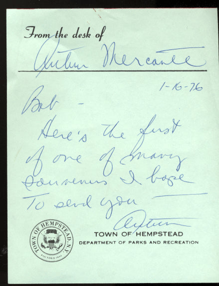 MERCANTE, ARTHUR SIGNED NOTE