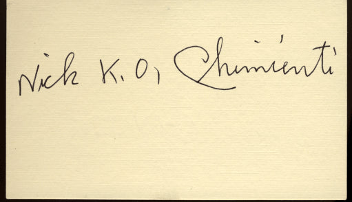 "CHIMIENTI, NICK ""KO"" SIGNED INDEX CARD"