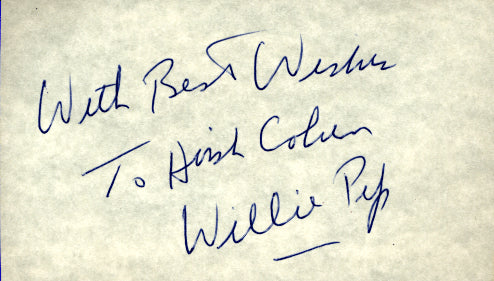 Pep,Willie Signed Index Card