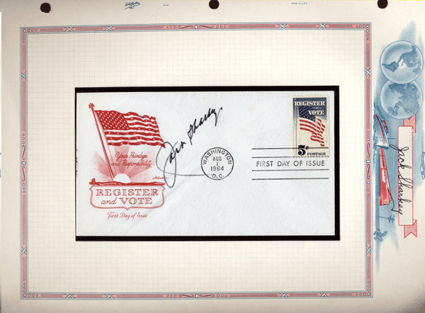 SHARKEY, JACK SIGNED FIRST DAY COVER (1964)