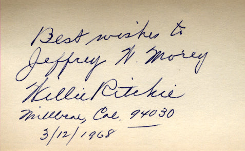 RITCHIE, WILLIE SIGNED INDEX CARD