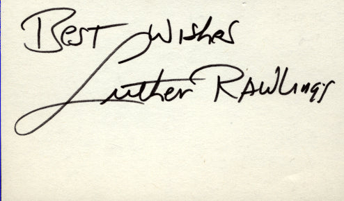 RAWLINGS, LUTHER SIGNED INDEX CARD