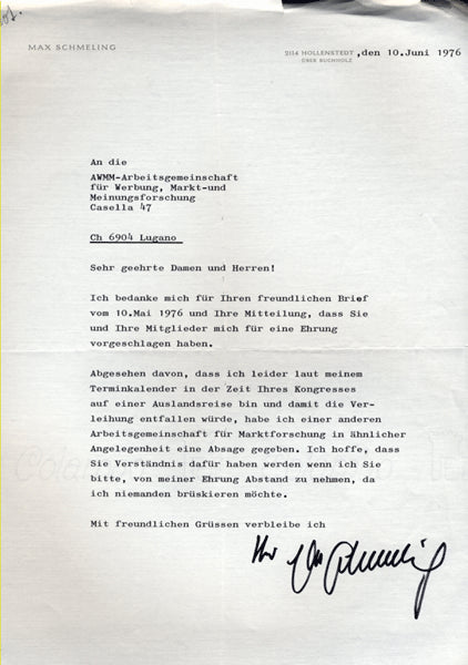 SCHMELING, MAX SIGNED LETTER (1976)