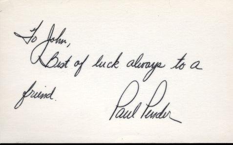 PENDER, PAUL SIGNED INDEX CARD