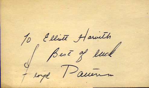 PATTERSON, FLOYD SIGNED INDEX CARD