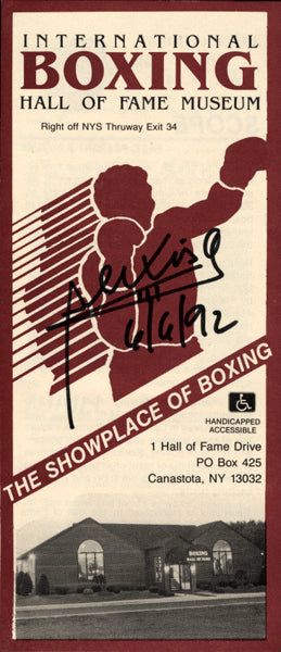 ARGUELLO, ALEXIS SIGNED HALL OF FAME PAMPHLET