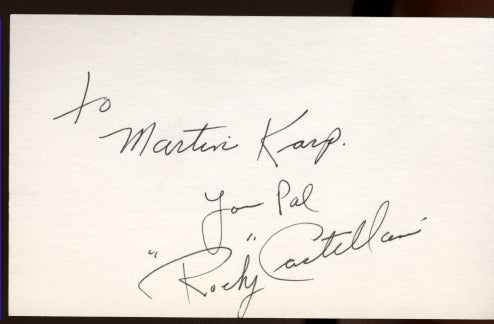 CASTELLANI, ROCKY SIGNED INDEX CARD
