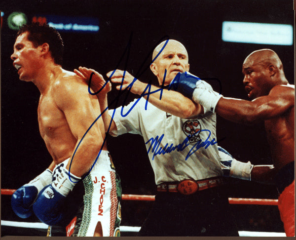 CHAVEZ, JULIO CESAR & MELDRICK TAYLOR SIGNED ACTION PHOTO (SIGNED BY BOTH)