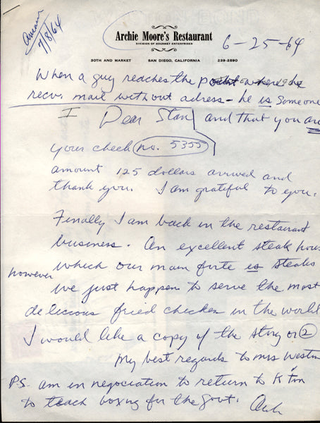 MOORE, ARCHIE HAND WRITTEN & SIGNED LETTER