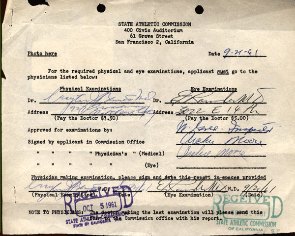MOORE, ARCHIE SIGNED MEDICAL EXAM (1961)