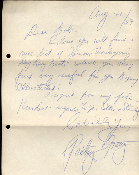 O'GATTY, PACKEY HAND WRITTEN & SIGNED LETTER
