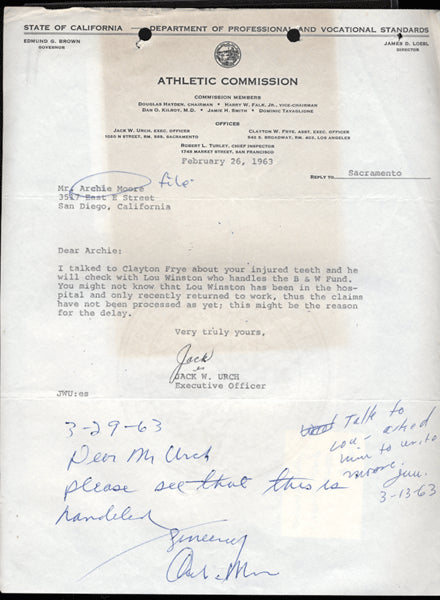 MOORE, ARCHIE SIGNED LETTER