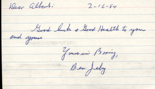 JEBY, BEN SIGNED INDEX CARD