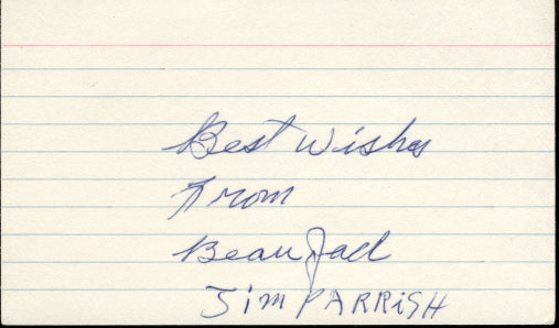 JACK, BEAU SIGNED INDEX CARD
