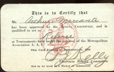 MERCANTE, ARTHUR REFEREE LICENSE (1950)