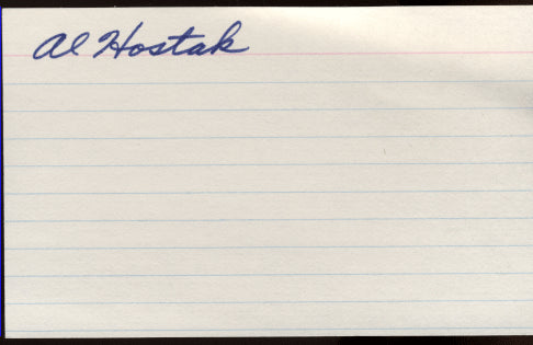 HOSTAK, AL SIGNED INDEX CARD