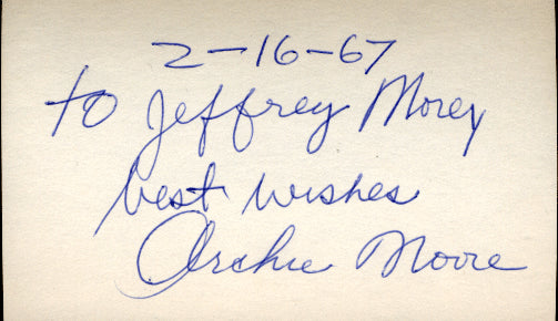 MOORE, ARCHIE SIGNED INDEX CARD (1967)