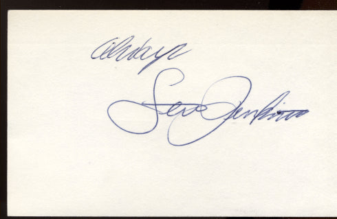 JENKINS, LEW SIGNED INDEX CARD