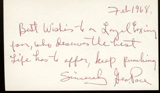 Pace,George Signed Index Card