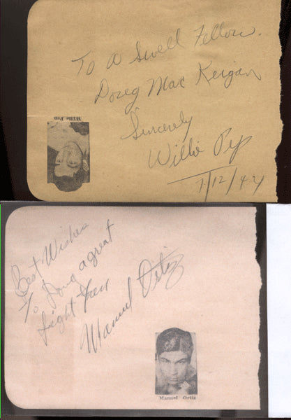 ORTIZ, MANUEL & WILLIE PEP PENCIL SIGNATURES