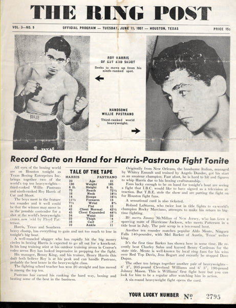 HARRIS, ROY-WILLIE PASTRANO OFFICIAL PROGRAM (1957)