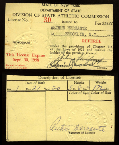 MERCANTE, ARTHUR REFEREE LICENSE (1957-1958-NY)