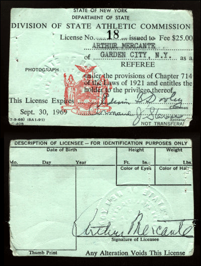 MERCANTE, ARTHUR REFEREE LICENSE (1967-1968-NY)